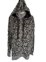 Lularoe COZY Collection Bethany Zip Hoodie Stretch Velvet Leopard animal Large