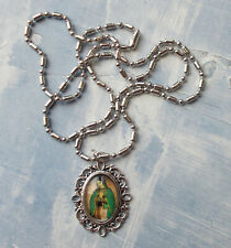 "Ornate Our Lady of Guadalupe under Glass Medal NECKLACE Pendant 24"" Stainless"