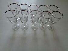 "Sheffield by Fostoria Clear Platinum Claret Wine Glasses 6"" Tall Lot Of 10"