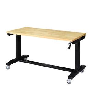 Husky Work Table 52 in. W Adjustable Height Steel Rolling Wheel Lock Black