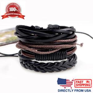 Black and Brown Leather Punk Rock Men Women Cuff Wristband Bracelet 4pc Set