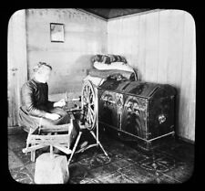 Filling The Bobbin On A Spinning Wheel Telemarken Norway Magic Lantern Slide