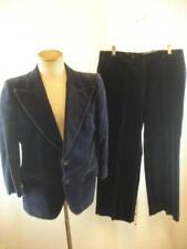 Mens S sz 38S Vtg 1960's 1970s Capital Blue Velvet 2-Pc Suit Pants Blazer Jacket