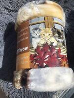 "Royal Plush Raschel Blanket Soft throw Kitties 50"" x 60"" / 127x152cm"