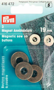 PRYM MAGNETIC SEW-ON BUTTONS, 19mm, ANTIQUE BRASS - 3 PIECE -BAGS, 416472