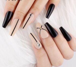 Matte Long Coffin Ballerina Nude black gemstone Fake False Press On Nails