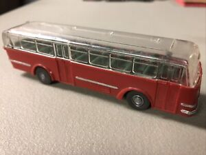 Vintage Wiking Clear Roof City Tour School Bus 1:87 HO Scale 72 Red Transit