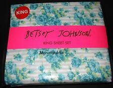 Betsey Johnson King Sheet Set 4 pc - Blue Bouquet Stripe Microfiber - New