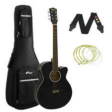 More details for tiger black electro acoustic guitar package with padded bag