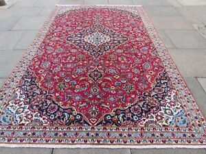 Vintage Hand Made Traditional Oriental Wool Red Blue Large Carpet 312x200cm