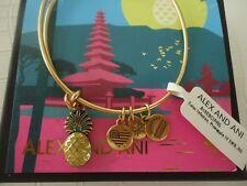 Alex and Ani PINEAPPLE IV Bangle Bracelet Russian Gold New W/Tag Card & Box