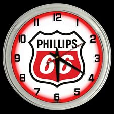"16"" Phillips 66 Gas Oil Sign Red Neon Clock Chrome Finish"