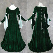 Green Velvet Medieval Renaissance Gown Dress Cosplay Costume LARP LOTR Wedding L