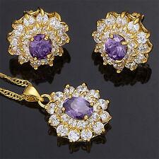 Schmuck Jewelryset Purple Amethyst Flower Oval Cut Necklace Pendant Earrings