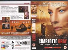 Charlotte Gray, Billy Crudup VHS Video Promo Sample Sleeve/Cover #9023