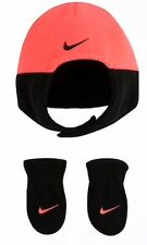 NWT Infant Girls NIKE Pink & Black Hat Mitten Set Size Infant 0-12 Mos NEW
