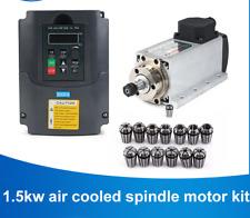 CNC 1.5kw 220v/110v Square Air Cooling ER11 1500W Milling Spindle VFD Inverter