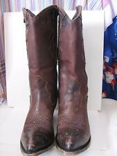 Liberty Black Leather Boots Double Zipper Size 9.5 Gorgeous DISTRESSED LEATHER