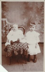 """""""Hundred Year old photo postcard from collection"""" two children"""