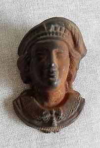 Vintage Match Holder Cast Iron Art Head Face Feather Hat LB17