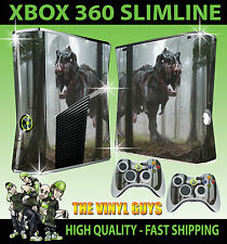 XBOX 360 SLIM STICKER ZOMBIE T REX DINOSAUR SKIN & 2 CONTROLLER PAD SKIN