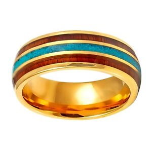 8mm Yellow Gold Tungsten with Wood & Turquoise Inlay Men's Band Ring