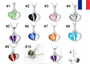 Lot 2X Collier Coeur Strass Femme Chaine Pendentif Cristal Cadeau Fête des Mères