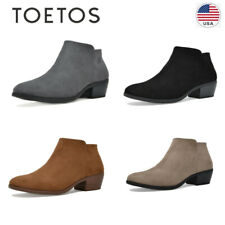 TOETOS Womens Low Block Heel Ankle Boots Ladies Chunky Casual Zipper Boots