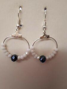 white agate&black crystal earrings,hoops,drop/dangle,hooks,silver plated.
