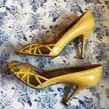 DOLCE&GABBANA Yellow Snake Leather Heels Sz 37.5