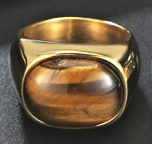 Men's 18 K Gold Tiger's Eye Ring- 10 Carats- Stainless Steel-Size 8-12