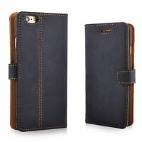Premium Echtes Ledertasche Schutzhülle Wallet Flip Case Vintage Nubuk Blau