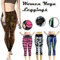 Women's Yoga Leggings Gym Sportswear High Waist Fitness Pant Stretchy Legging UK