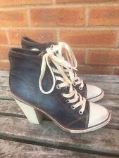 Ash Denim Canvas High Ankle Boots Uk 7