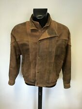 QUALITY BROWN ANTIQUE LOOK LEATHER ZIP & POPPER FASTEN JACKET SIZE UK L