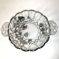 STERLING OVERLAY BOWL SILVER CITY FLANDERS POPPY CRYSTAL DOUBLE HANDLED