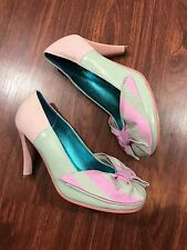 Irregular Choice Pumps With Bow Pink And Green Sz 7