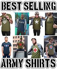 Mens ORGANIC Cotton T-Shirt ARMY MILITARY British RAF American USAF Fancy Dress
