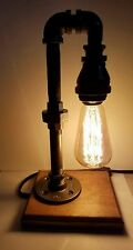 Retro Industrial Pipe Desk Lamp steampunk style with vintage edison bulb