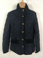WOMENS JOULES NAVY BLUE QUILTED ZIP UP LIGHTLY PADDED FITTED JACKET COAT UK 10