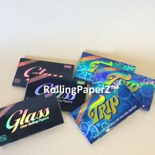 6 Packs Clear Rolling Papers 1 1/4 Size (3) TRIP and (3) GLASS 50 leaves per pk