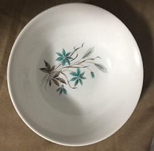 "Vintage 9"" Ivory bowl Georgian China in Canadian Wheat pattern Turquoise Aqua"