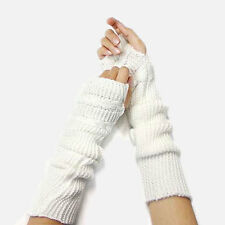 Arm Warmers Sweater Cable Knitted Fingerless Gloves WHITE Plain Long Glove 15""