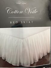 twin dust ruffle bed skirt White Cotton Voile Gathered Lined