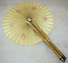 Antique Folding Victorian Round Hand Fan - Wrapped Wood Handles