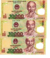 VIETNAM 10000 DONG POLYMER X3 CONSECUTIVE NOTES UNC