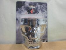 Skull Face Motorcycle Cup Holder Kruzer Kaddy Fits Universal Handlebars Chrome