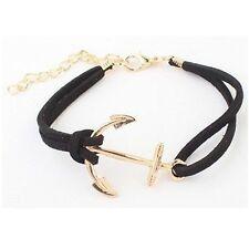 Anchor Bracelet Sailor Gold Black Leather Cord Cuff Suede Faux Friendship