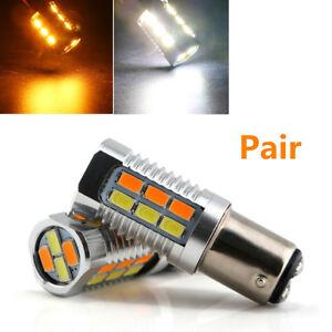 2x 1157 5630 22SMD BAY15D Amber/White LED Brake Light Car Turn Signal Light Bulb