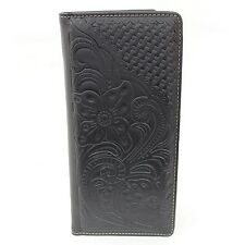Black Floral Embossed Men's Rodeo Style Checkbook Wallet